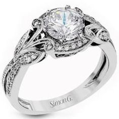 Simon G. Filigree Antique Style Diamond Engagement Ring