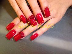 3d bow nails, coffin nails , acrylic nail art