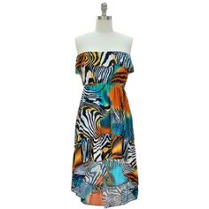 Blue & Orange Multi Color Animal Print Strapless « StoreBreak.com – Away from the busy stores