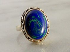 Vintage Sterling Silver Oval Azurite Ring      Size 7 3/4    Southwest Rope Motif by GemstoneCowboy on Etsy
