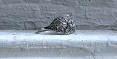 Stunning Vintage Platinum Diamond Art Deco Engagement by GoldAdore