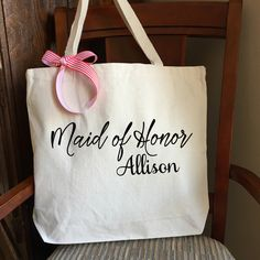 A personal favorite from my Etsy shop https://www.etsy.com/ca/listing/263564983/natural-canvas-tote-bag-bridesmaid-tote