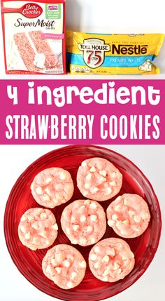 These are one of the easiest cookies youll ever make. and SO addicting! Go grab the recipe and give them a try this week! Cake Mix Cookie Recipes, Best Cookie Recipes, Yummy Cookies, Shortbread Cookies, 4 Ingredient Desserts, 4 Ingredient Cookies, Strawberry Dessert Recipes, Strawberry Cookies, Easy Summer Desserts