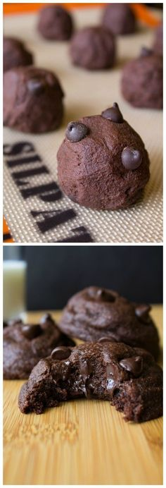 Rich, fudgy, soft batch double chocolate cookies oozing with chocolate chips - Chocolate lovers rejoice!