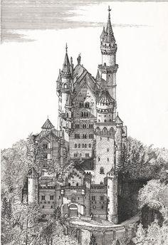 Schloss Neuschwanstein Bavaria Germany LARGE by GatepostPictures, $25.00