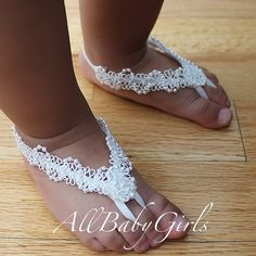 Blooming White Flowers Lace Baby Barefoot Sandals by AllBabyGirls, $12.97