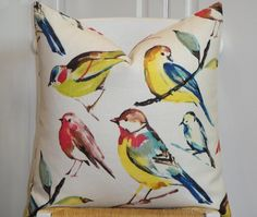 BOTH SIDES - 18x18, 20x20, 22x22 - Birds - Decorative Pillow Cover - Red - Yellow - Blue - Grey on Etsy, $48.00