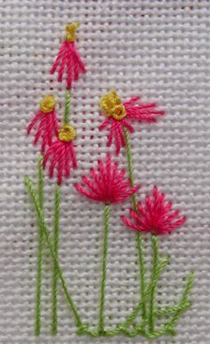 A simple concept for quick embroidery cards using Algerian eye and eyelet stitches