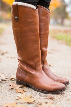 Tan Frye boots are a winter staple.