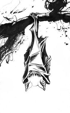 Original Animal Drawing by Matt Huynh Tattoo Illustration, Ink Illustrations, Skull Tattoos, Animal Tattoos, Animal Paintings, Animal Drawings, Abstract Drawings, Art Drawings, Hanging Bat