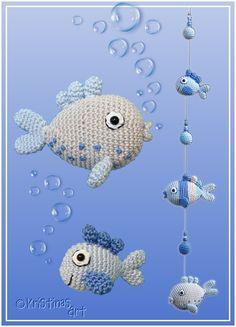 Crochet Amigurumi Ideas Ravelry: Frische Fische pattern by Kristinas Art - Crochet Fish, Crochet Butterfly, Butterfly Baby, Crochet Animals, Crochet Baby, Knit Crochet, Crochet Amigurumi, Amigurumi Patterns, Crochet Dolls