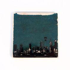Philadelphia Skyline Eagles Edition Coaster (Green w/ Black & White) (1) 4 x 4 inch Stone Coaster Philadelphia Eagles Gift & Home Decor Protect