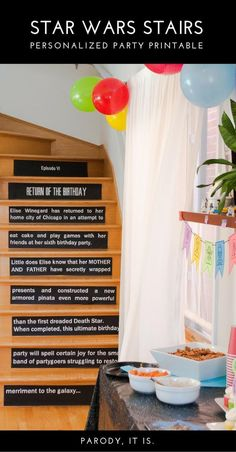 Make a DIY Star Wars opening crawl on stair risers - what a great idea! This printable is quick and easy to personalize and print for a Star Wars birthday party. Theme Star Wars, Star Wars Decor, Star Wars Party, Birthday Party Decorations Diy, Birthday Party Themes, Birthday Ideas, Diy Party, 10th Birthday, Diy Birthday