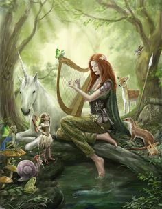 Magical forest girl playing a harp with fairy & unicorn art Foto Fantasy, Fantasy Kunst, Unicorn And Fairies, Unicorn Art, Beautiful Fantasy Art, Beautiful Fairies, Beautiful Paintings, Fantasy Artwork, Fairy Pictures