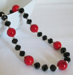 Red and Black Necklace Black Crystal Beaded by AwfyBrawJewellery