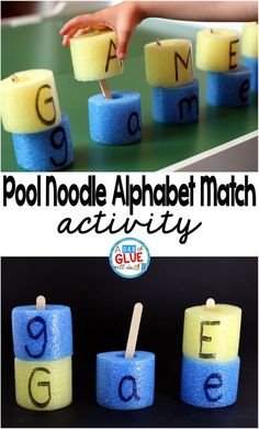 We have been working on letters the last few weeks before my oldest heads off to preschool and I thought the pool noodle alphabet match would be a great way for her to practice matching uppercase and lowercase letters. Preschool Letters, Preschool Lessons, Preschool Learning, Kindergarten Activities, Preschool Activities, Summer Activities, Alphabet Crafts, Alphabet Games, Alphabet Letters