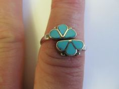 VINTAGE ZUNI INLAY TURQUOISE SILVER  FLOWER RING