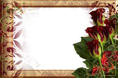 Beautiful Golden Frame with Red Roses   Gallery Yopriceville - High-Quality Images and Transparent PNG Free Clipart