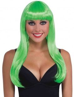 Complete any costume with our Neon Green Long Wig! Features a long neon green wig with fringe bangs. One size fits most teens and adults. Includes 1 wig per package. Black Tees, Glamour Costumes, Green Costumes, Costume Craze, Halloween Wigs, Halloween Hairstyles, Adult Halloween, Halloween Ideas, Green Wig
