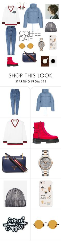 """Coffee Please ☕️"" by givemesomecolor on Polyvore featuring Miss Selfridge, Moncler, Gucci, Pierre Hardy, Prada, Vivienne Westwood, Topshop, Casetify, Hakusan and CoffeeDate"