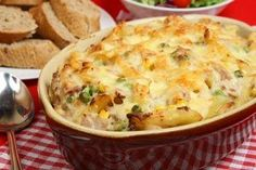 Tuna Noodle Casserole from CDKitchen.com...MAKE IT HEART HEALTHY with no egg noodles, 98% fat free cream mushroom soup, frozen peas....
