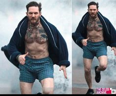 A shirtless Tom Hardy displays his toned torso as he sprints down the street in boxers and a dressing gown!  Pictures > http://www.thecelebarchive.net/ca/gallery.asp?folder=/tom%20hardy/