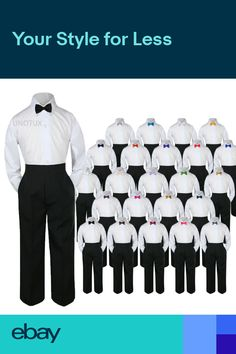 ecb659871 3pc Shirt Black Pants Bow Tie Set Baby Toddler Kid Boys Formal Suit  Separate S-