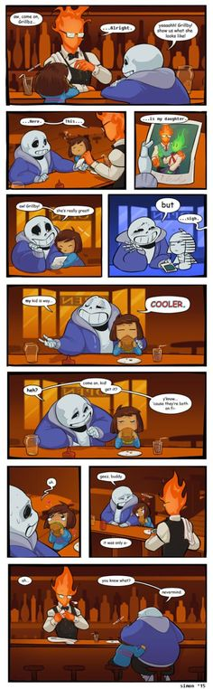 Undertale Comic  At Grillby's! So cute!