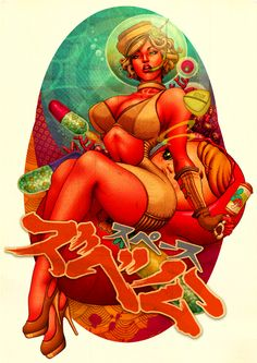Pin-Up, Japan and Retro Poster Art And Illustration, Illustrations Posters, Arte Sci Fi, Sci Fi Art, Arte Lowbrow, Poster Retro, Character Art, Character Design, Style Retro