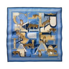 Scarf 90 cm x 90 cm summer feel motif - Blue twill silk - Fine Scarves for women - Cartier