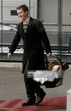 Crown Prince Frederik, Crown Princess Mary & Prince Christian Of Denmark Arrive At Oslo Airport Prior To The Christening Of Prince Sverre Magnus Of Norway. .