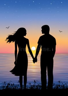 Man And Woman Silhouette, Hand Silhouette, Couple Silhouette, Sunset Silhouette, Silhouette Painting, Couple Sketch, Couple Drawings, Couple Painting, Woman Painting