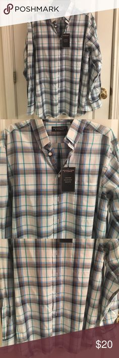 NWT- Roundtree &Yorke Long Sleeve Plaid Shirt NWT-  Roundtree &Yorke long sleeve button down plaid shirt. Classic fit. Pointed button collar. Left chest pocket. Shirttail hem. Button cuffs. Size large. Excellent condition. 100% Cotton Roundtree & Yorke Shirts Casual Button Down Shirts