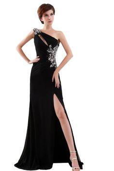 Fashion Bug One Shoulder Rhinestone Detailed Split Front Long Evening Dresses Plus Size www.fashionbug.us