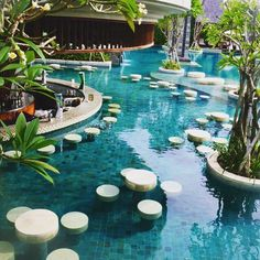 The Sofitel in Nusa Dua has a pretty amazing pool bar! #travel #bali #sofitel