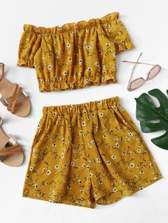 Teenager outfits Off Shoulder Floral Crop High With ShortsFor Ladies-romwe Including Private Touches Cute Outfits With Shorts, Crop Top Outfits, Cute Girl Outfits, Cute Summer Outfits, Cute Casual Outfits, Girly Outfits, Short Outfits, Pretty Outfits, Stylish Outfits