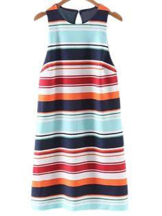 Kleid+ärmellos+mit+Streifen+Reißverschluss+geschnitte+und+rückenfrei+-+bunt+19.46