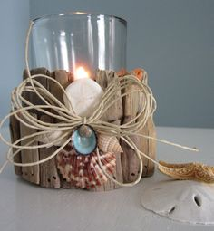 Beachy Driftwood Candle Holder ~~~