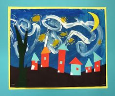 This is a 3 week lesson and each one turns out so cute! First day we look at Starry Night here and I give the students a palette of sky b...