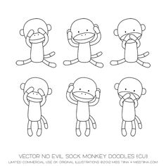 Vector No Evil Sock Monkey Doodles {CU}