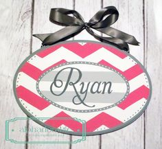 Custom Artisan hand painted name sign name plate plaque ~ Pink, hot pink, grey white chevron on Etsy, $40.00