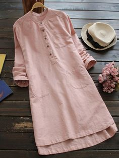 Casual Long Sleeve Stand Collar Maxi Dress Shop Maxi-Kleid - Casual Langarm Stehkragen Maxi-Kleid on Womens Linen Clothing, Maxi Robes, Mini Shirt Dress, Vintage Shirts, Vintage Dresses, Elegant Dresses, Dresses Dresses, Vintage Clothing, Sleeve Dresses