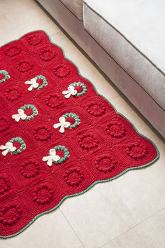 Christmas Wreath Crochet Rug