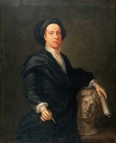 William Kent (1685–1748), Architect  by William Aikman. This portrait represents the architect, landscape and furniture designer William Kent. He is depicted holding a scroll of paper, which may represent architectural plans, and an ink pen. Kent played a leading role in introducing the classical, Palladian style of architecture to the UK in the early 18th century. A full-length painting of Kent, also by William Aikman, is in the collection of the National Portrait Gallery.
