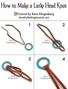 How to Make a Larks Head Knot – Step by Step Tutorial – Jewelry Making Journ… - jewelry diy bracelets Jewelry Knots, Jewelry Clasps, Gold Jewelry, Jewlery, Amber Jewelry, Metal Jewelry, Easy Crafts To Make, How To Make, Do It Yourself Jewelry