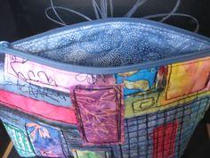 multi-color graffiti large zip bag- open