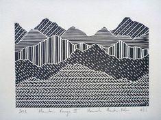 Bergkette Linolschnitt drucken