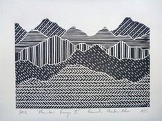 Mountain range linocut print on Somerset Antique paper. The print itself measures approx 8x6 inches, and the paper is roughly 10x8 inches (sizes may vary slightly from print to print).