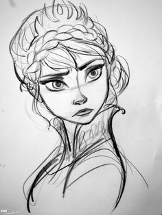 "Concept art of a perplexed Elsa in coronation garb and crown from Disney's ""Frozen"" (2013)."