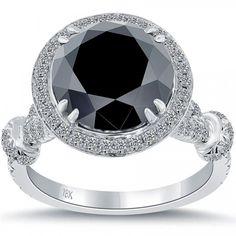 5.06 Carat Certified Black Diamond Engagement Ring Pave Halo 18k White Gold(5000)